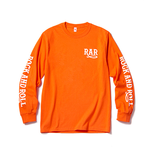 ROCK AND ROLL LONG SLEEVE T / ORANGE×WHITE